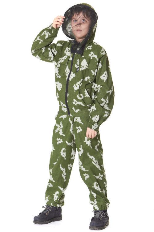 Маскхалат детский камуфляжный костюм березка с противоэнцефалитной сеткой Р27 -  СТА-маскдет-сс27