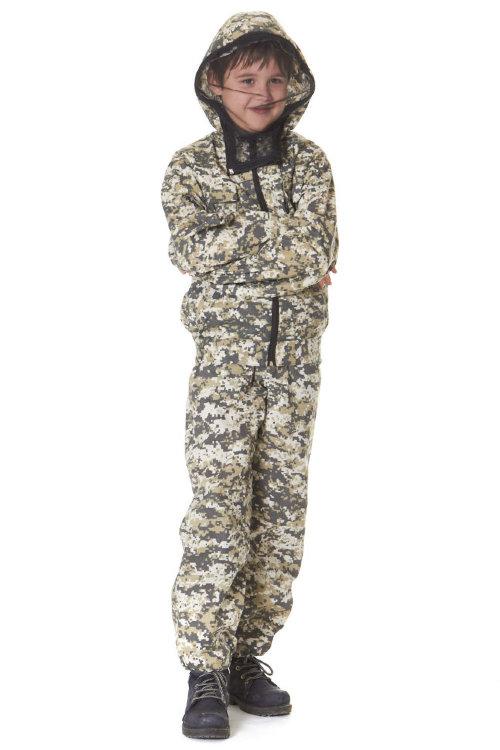 Маскхалат детский камуфляжный костюм цифра светлая Р34 с противоэнцефалитной сеткой -  СТА-маскдет-сс34